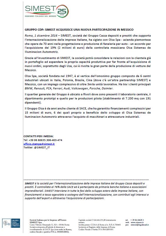 GRUPPO CDP: SIMEST ACQUISISCE UNA NUOVA PARTECIPAZIONE IN MESSICO