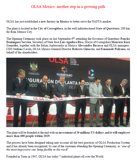 OLSA Mexico: another step in a growing path